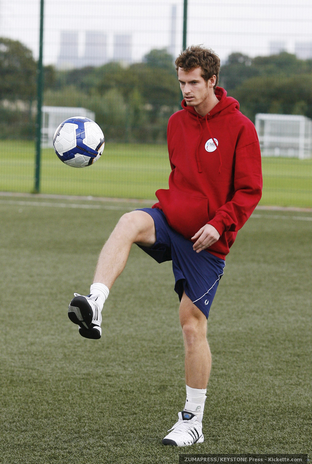 Tennis/Football - Andy Murray visits the Everton FC Training Ground prior to the GB Davis Cup tie at the Liverpool Echo Arena - Everton Training Ground, Finch Farm - 15/9/09..Great Britain's Andrew Murray(Credit Any Usage: ©ZUMAPRESS.com/Keystone Press)